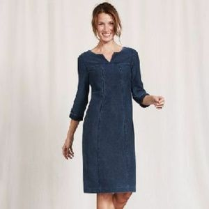Boden Genevieve Denim Cotton Button Tab Dress